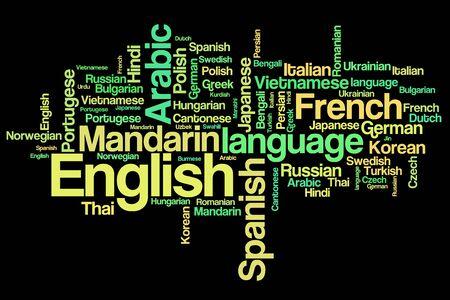 linguistics: World languages word cloud illustration. Word collage concept.