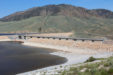 watershed: Colorado, United States - Wolford Mountain Reservoir on Muddy Creek, part of the Colorado River watershed. Low level of water. Stock Photo