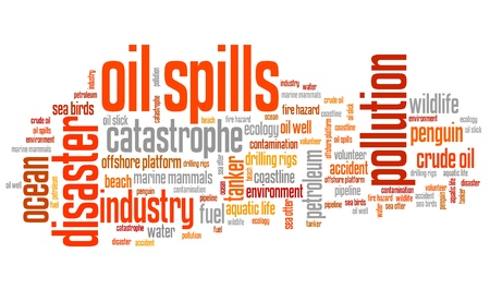 slick: Oil spills - environmental issues and concepts word cloud illustration. Word collage concept.