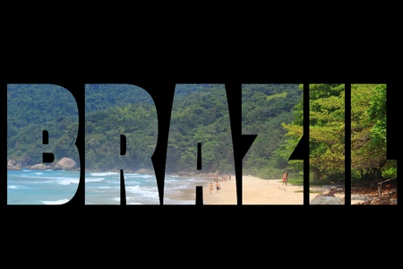 brazil country: Brazil - country name word. Travel destination sign isolated on black background. Editorial