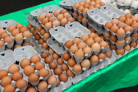 grocers: Egg stand at a marketplace in Birmingham, United Kingdom. Farmers market. Stock Photo