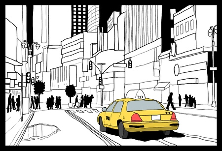new york city times square: New York City taxi cab - Times Square illustration. Illustration