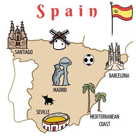 santiago: Spain landmarks map - cute doodle vector graphics with Madrid, Barcelona, Santiago de Compostela, Seville and football. Illustration