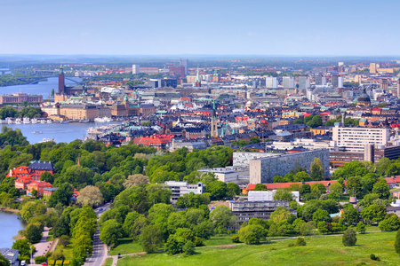 stan: Stockholm, Sweden. Aerial view of famous Gamla Stan (the Old Town) and other islands, canals, landmarks.