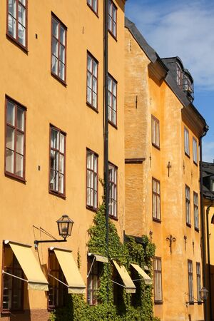 stan: Stockholm, Sweden - old town detail. Residential architecture of Gamla Stan.