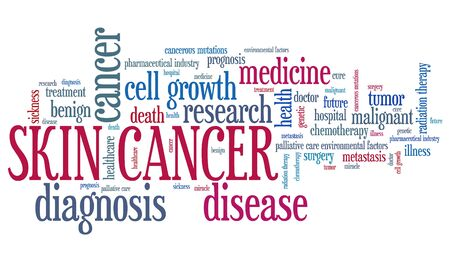 skin cancer: Skin cancer word collage concept. Serious disease treatment. Stock Photo