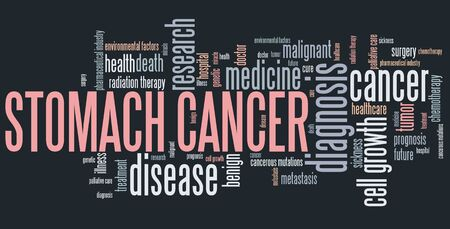 stomach cancer: Stomach cancer word collage concept. Serious disease treatment.