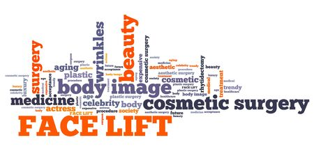 face lift: Face lift - cosmetic surgery. Word cloud concept. Stock Photo