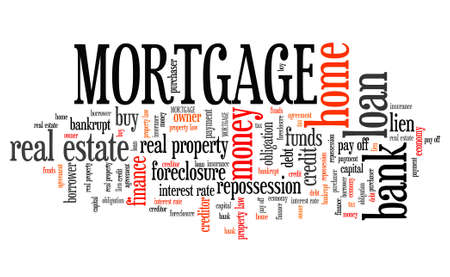 buying real estate: Mortgage word collage - home ownership loan financing. Stock Photo