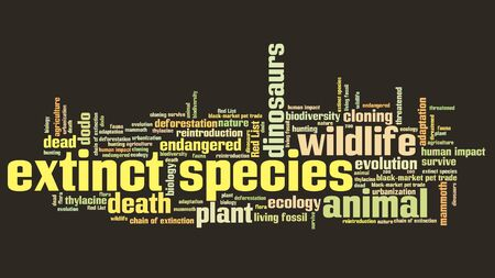 Extinct species - environment issues and concepts word cloud illustration. Word collage concept.