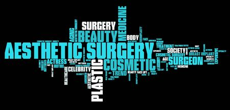 aesthetic: Aesthetic surgery - body improvement. Word cloud concept.