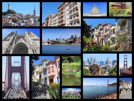 San Francisco collage - photo collection with Alamo Square, Nob Hill, Telegraph Hill, Grace Cathedral and Golden Gate Bridge.
