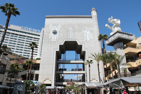 LOS ANGELES, USA - APRIL 5, 2014: People visit Babylon Gate in Hollywood, the famous film industry district of Los Angeles.