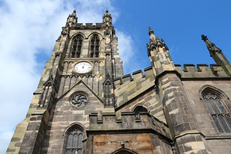 parish: Stockport in North West England (UK). Part of Greater Manchester. Parish church - St. Marys in the Market Place. Stock Photo