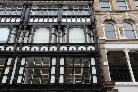 old english: English architecture - old buildings in Manchester, UK.