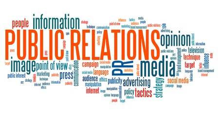 Pubbliche relazioni - la materia societaria e concetti word cloud illustrazione. Parola collage concetto.