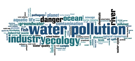 environment issues: Water pollution - environment issues and concepts word cloud illustration. Word collage concept.