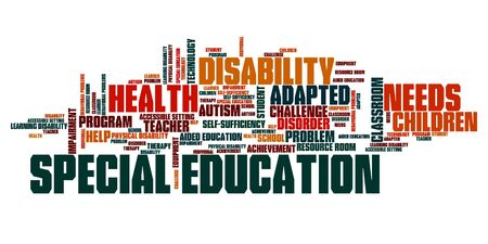 special education: Special education needs - disability help word collage.