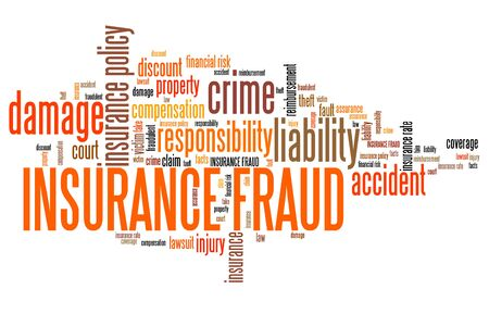 compensation: Insurance fraud - financial crime. Word cloud concept.