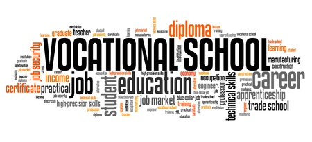 vocational: Vocational school word collage - technical occupation education.