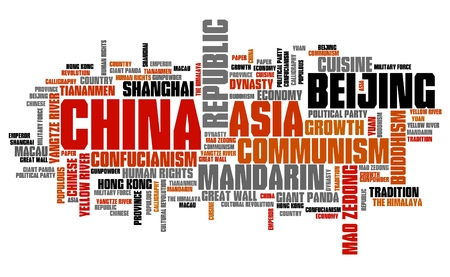 word: China - Asian country word cloud illustration. Word collage.
