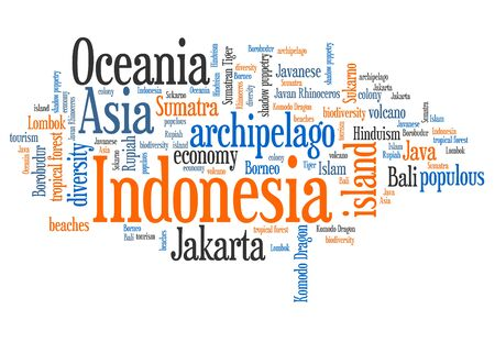 word collage: Indonesia word cloud illustration. Country word collage. Stock Photo