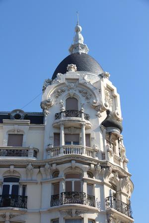 modernist: Madrid old architecture in Spain. Modernist landmark. Stock Photo