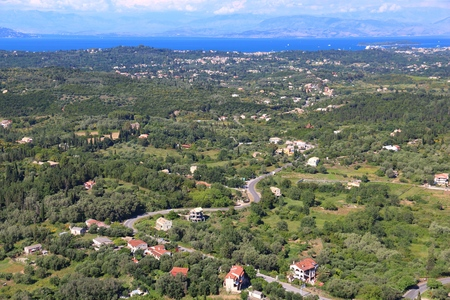 overlook: Corfu island landscape - view from Kaisers Throne overlook.