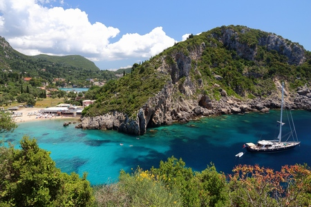 Paleokastritsa on Corfu island, Greece. Ionian Sea coast in summer.