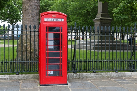 phonebooth: London phone box - red telephone kiosk in the UK. Stock Photo