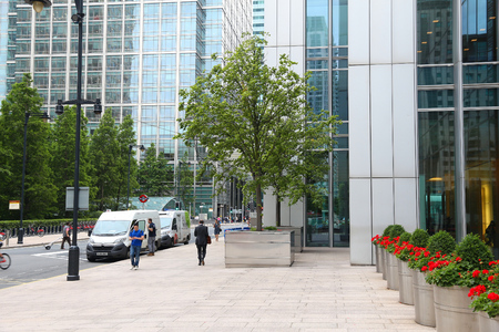 canary wharf: LONDON, UK - JULY 8, 2016: People visit Canary Wharf modern area in London, UK. Canary Wharf is Londons second financial centre. Editorial