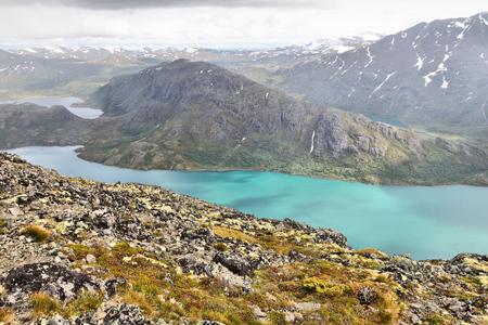 Norway nature - Jotunheimen National Park. Besseggen ridge trail between two lakes (Gjende and Bessvatnet). Oppland county landscape. Stock Photo