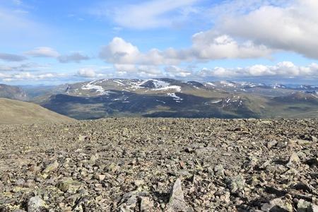 besseggen: Norway nature - Jotunheimen National Park. Besseggen trail stone scree.