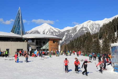ski runs: BAD HOFGASTEIN, AUSTRIA - MARCH 9, 2016: People visit Angertal ski station in Bad Hofgastein. It is part of Ski Amade, one of largest ski regions in Europe with 760km of ski runs.