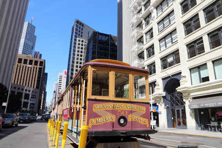 SAN FRANCISCO, USA - APRIL 9, 2014: Historic cable car in San Francisco, USA. Famous SF streetcars began operation in 1878.