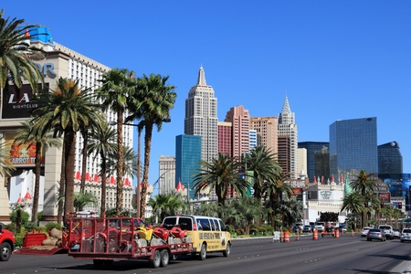 LAS VEGAS, USA - APRIL 14, 2014: Car traffic in Las Vegas, Nevada. Nevada has one of lowest car ownership rates in the USA (500 vehicles per 1000 people).