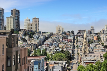telegraph hill: San Francisco, California, United States - city skyline with Telegraph Hill and Russian Hill. Stock Photo