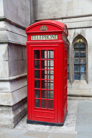 red telephone: London phone box - red telephone kiosk in the UK. Stock Photo