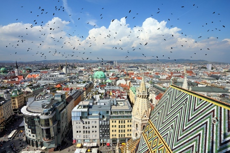 Vienna, Austria - aerial view of the cathedral and the Old Town Stock Photo