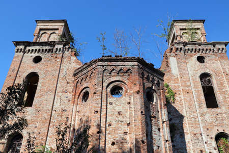 Vidin, Bulgaria - old synagogue building. Ruined temple.