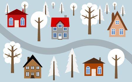 Cartoon village illustration - cute homes along the road. Winter view. Illustration