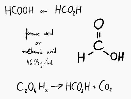 scribbling: Formic acid (methanoic acid) - organic chemistry lesson. Illustration