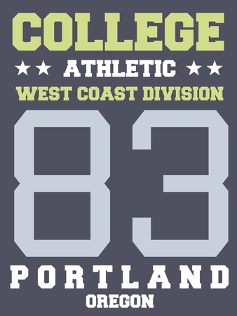 sports jersey: College sports team jersey design - athletic t-shirt. Portland, Oregon.
