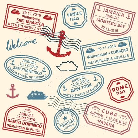 frequent: Travel stamps vector background - grunge fictitious passport visas for cruise ship destinations. Illustration