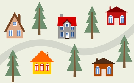 neighbourhood: Cartoon town illustration - cute homes along the road