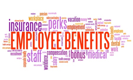 keyword: Employee benefits - company employment perks. Corporate loyalty word cloud.