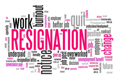resign: Resignation - job quitting and professional change. Career word cloud. Stock Photo