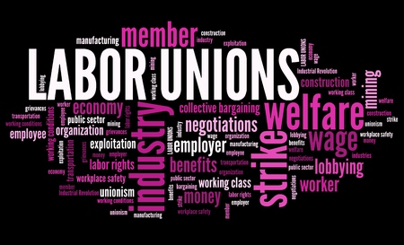 Labor unions - industry worker organizations. Employment word cloud.