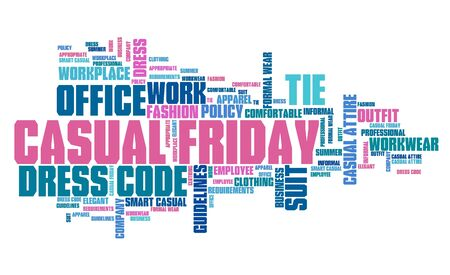 dress code: Casual Friday - office dress code concept word cloud.
