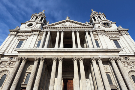 saint pauls cathedral: London, UK. Saint Pauls Cathedral facade architecture.